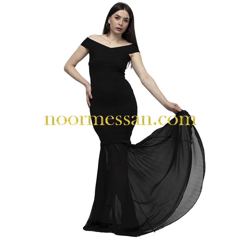 فستان سهرة طويل أوف شولدر- قماش بوكليه أسود