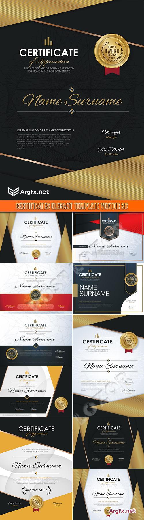 Certificates elegant template vector 28