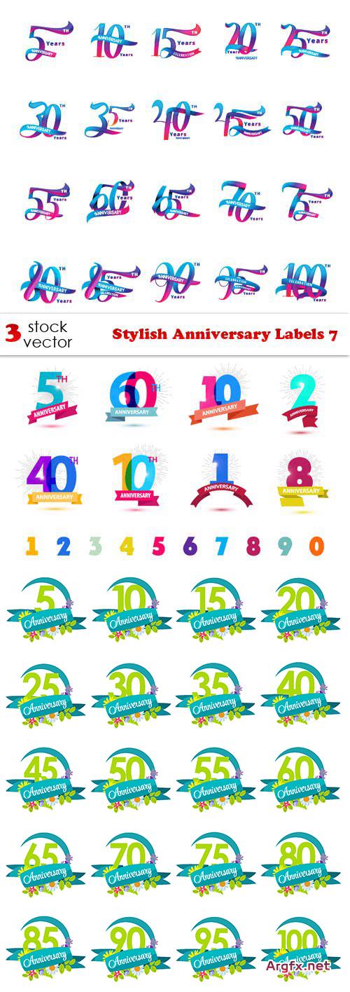 Vectors - Stylish Anniversary Labels 7