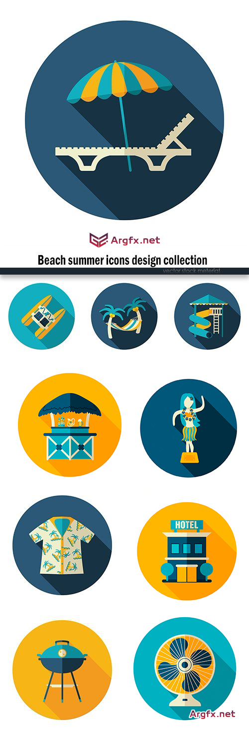 Beach summer icons design collection