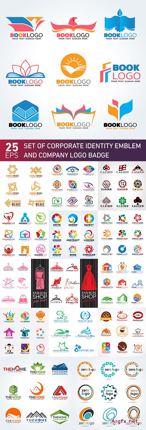 Set of corporate identity emblem and company logo badge 25 Eps